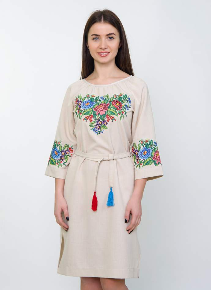 Сукня з квітковою вишивкою (пісочна), арт. 4534