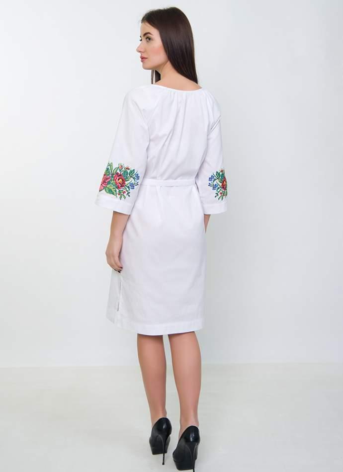Сукня з квітковою вишивкою (біле), арт. 4535