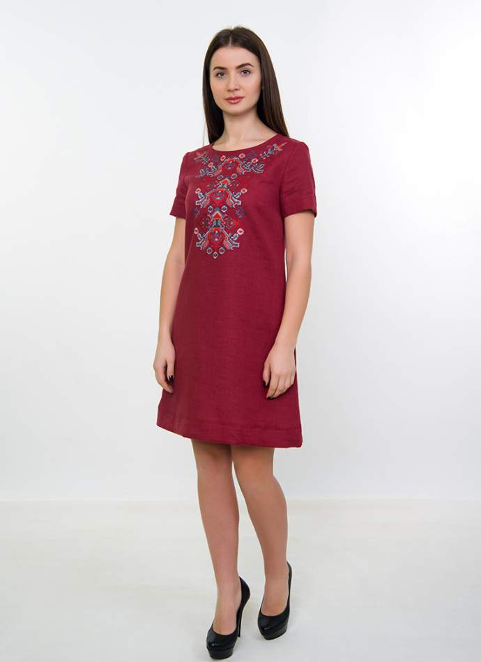 Вышитое платье на льне (бордовое), арт. 4536