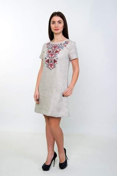 """Вишите плаття на льоні (сіре), арт. 4537 """"Дерево життя"""""""