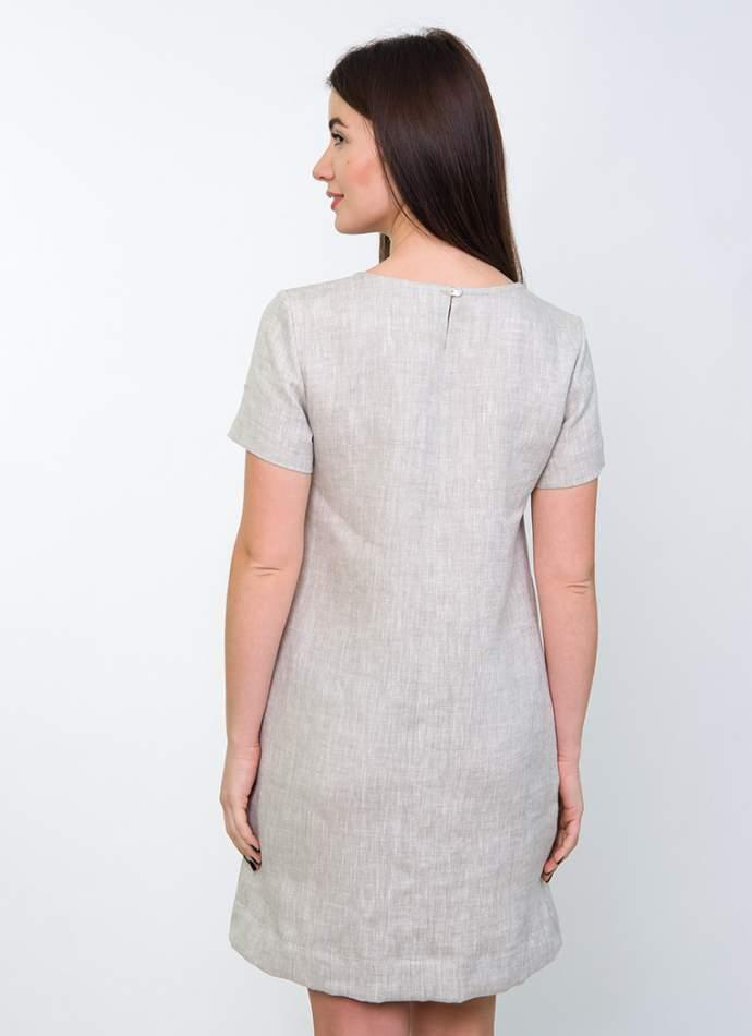 Вишите плаття на льоні (сіре), арт. 4537габардин