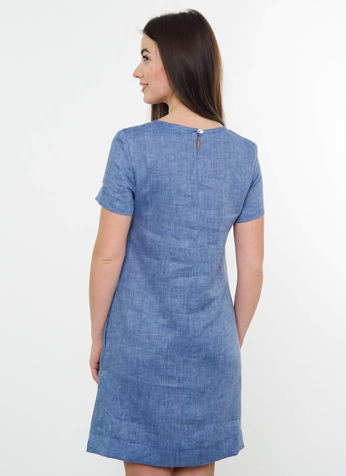 Вишите плаття на льоні (джинс), арт. 4538