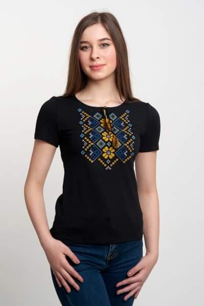 Чорна футболка з жовто-блакитною вишивкою, арт. 5122к.р.
