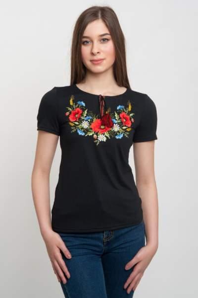 Жіноча футболка з вишивкою маки, арт. 5125к.р.