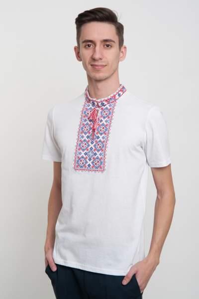 Біла футболка з вишивкою чоловіча, арт. 5201