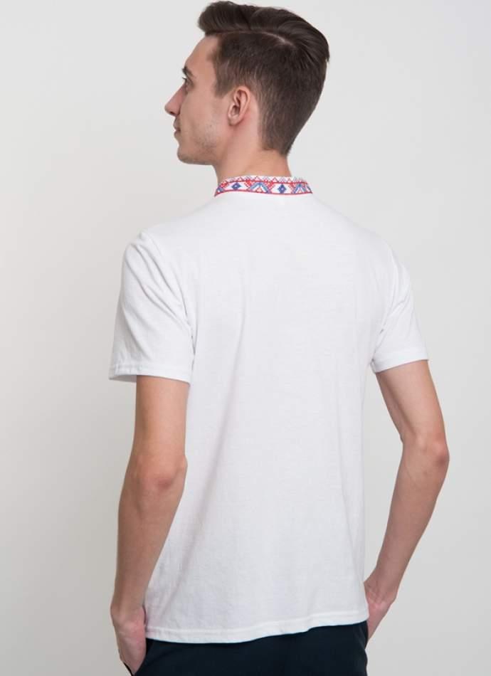 Белая футболка с вышивкой мужская, арт. 5201