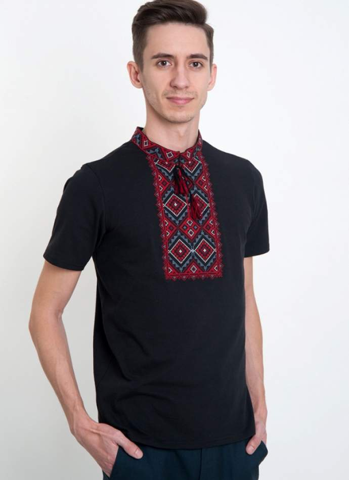 Чорна футболка з вишивкою, арт. 5206