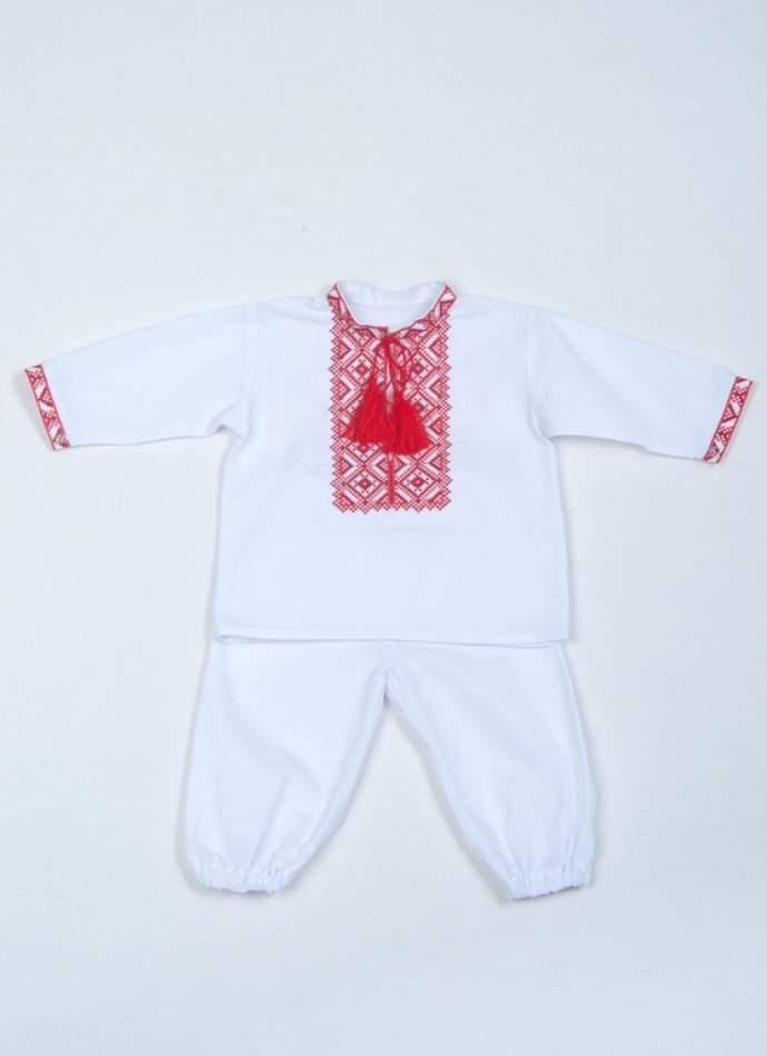Крестильный набор для мальчика, красная вышивка