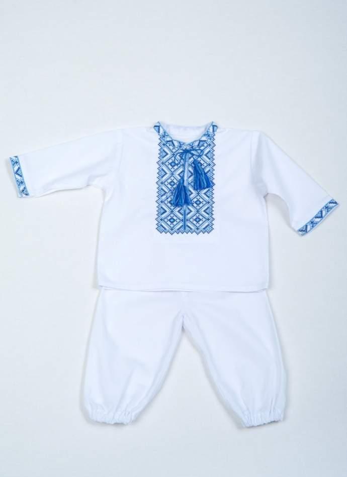 Набор для крещения мальчика, голубая вышивка