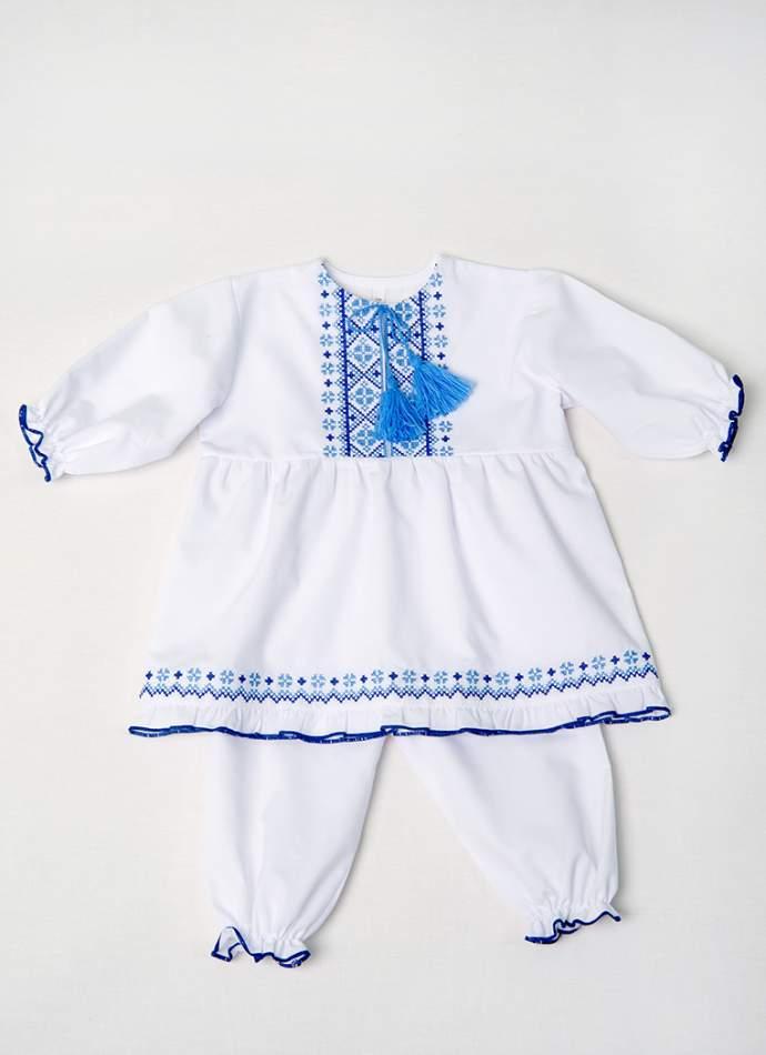 Набор для крещения девочке синий