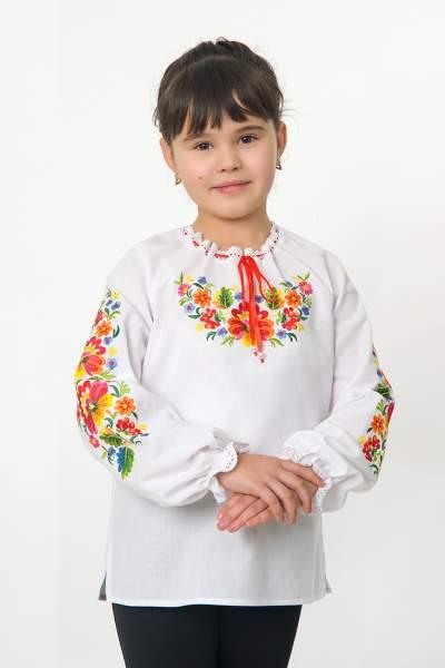 """Біла вишиванка """"петриківка"""" на дівчинку, арт. 4330"""