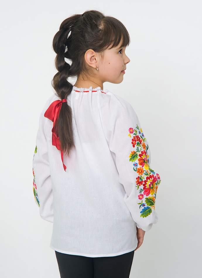 """Біла вишиванка """"петриківка"""" на дівчинку, арт. 4330 батист"""