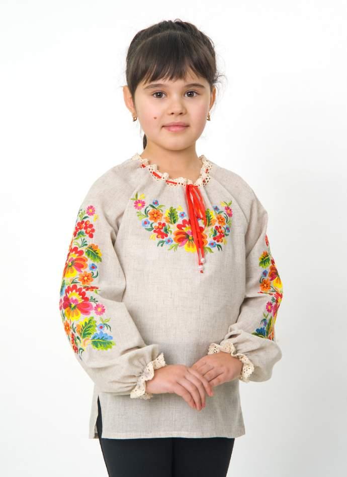 """Серая вышиванка """"петриковка"""" на девочку, арт. 4331"""