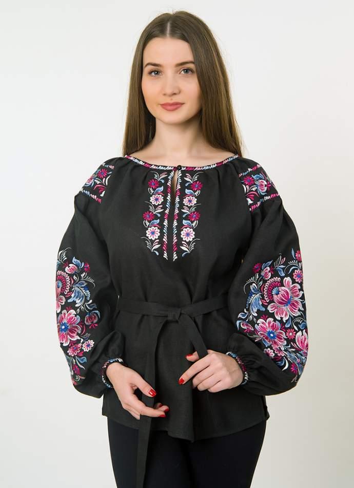 Черная вышиванка в стиле петриковской росписи, арт. 4511