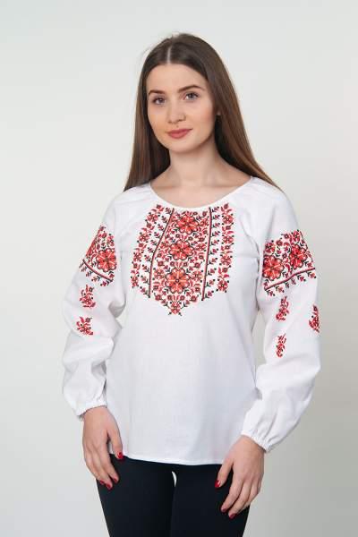 Біла вишиванка з червоним орнаментом, арт. 4515