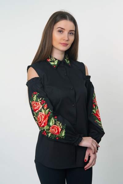 Черная рубашка вышитая, открытые плечи, арт. 4510
