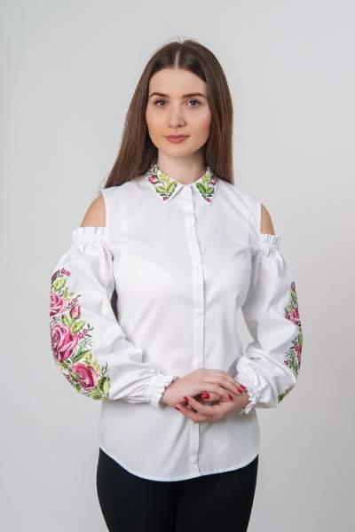 Белая рубашка вышитая, открытые плечи, арт. 4509