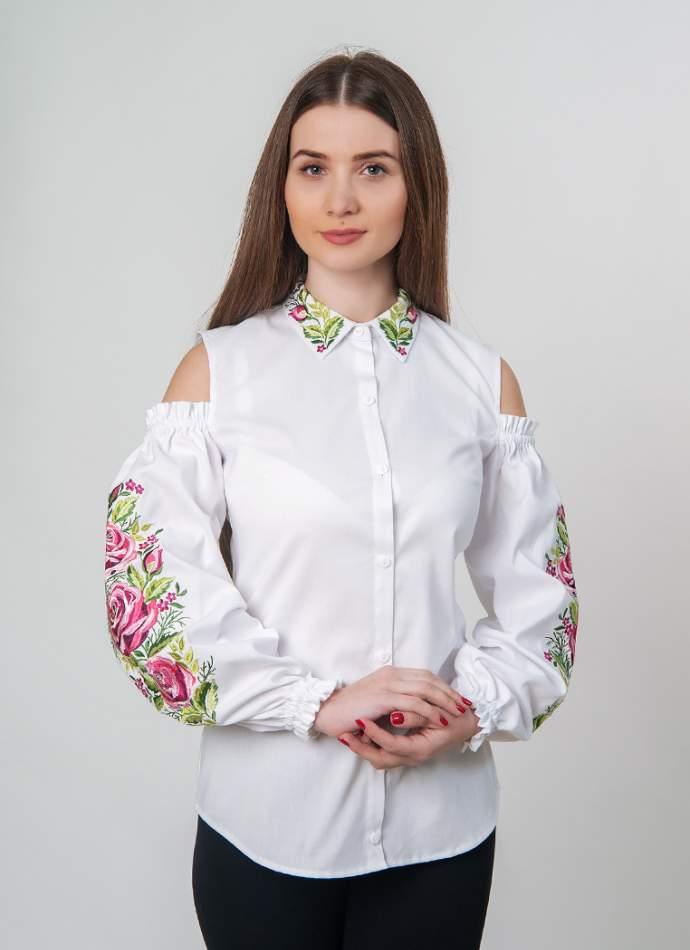 Біла сорочка вишита, відкриті плечі, арт. 4509