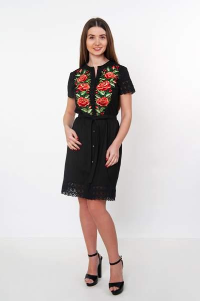 Черное платье-рубашка с кружевом (розы), арт. 4520