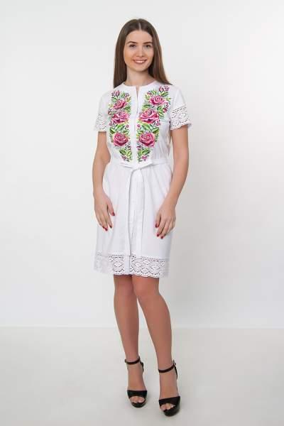 Белое платье-рубашка с кружевом (рози) арт. 4521