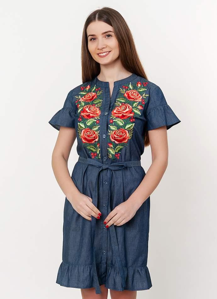 """Сукня-сорочка з вишивкою """"троянди"""", арт. 4522"""