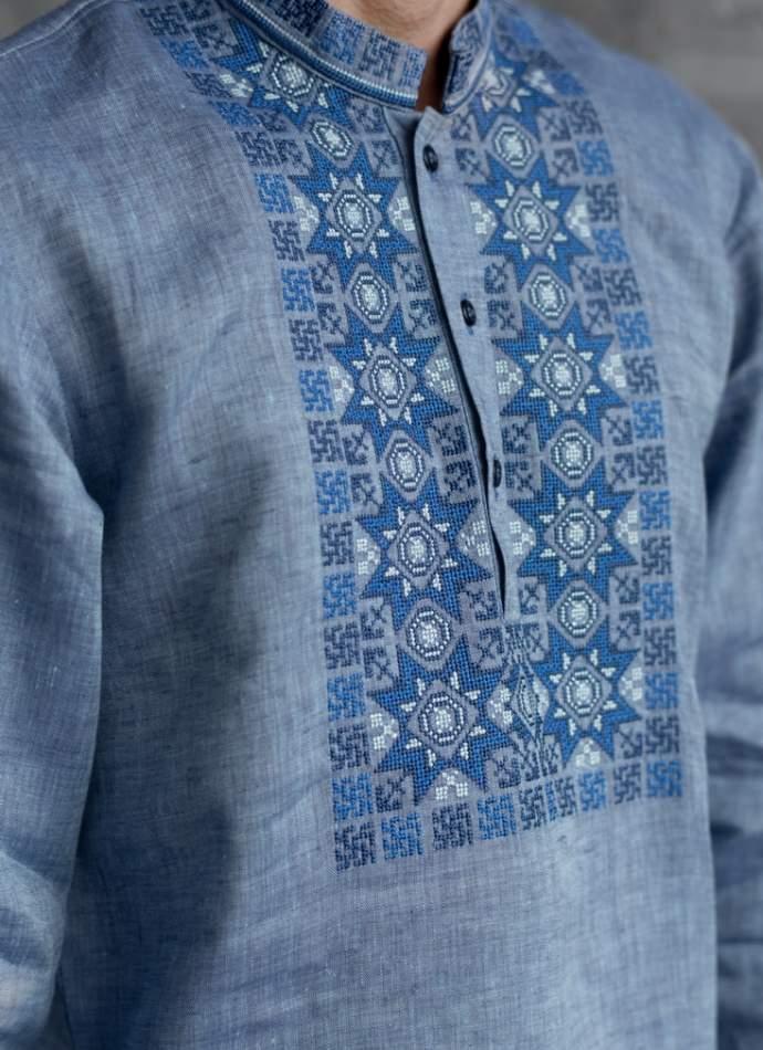 Чоловіча сорочка вишита з планкою, арт. 4243-льон джинс
