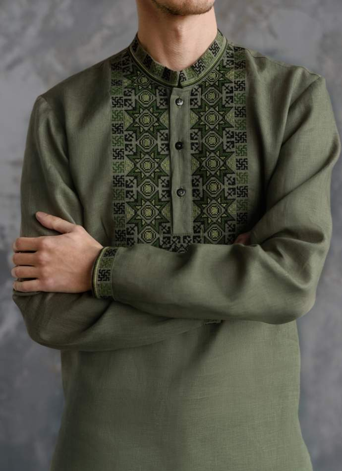 Мужская рубашка вышитая, арт. 4240-лён