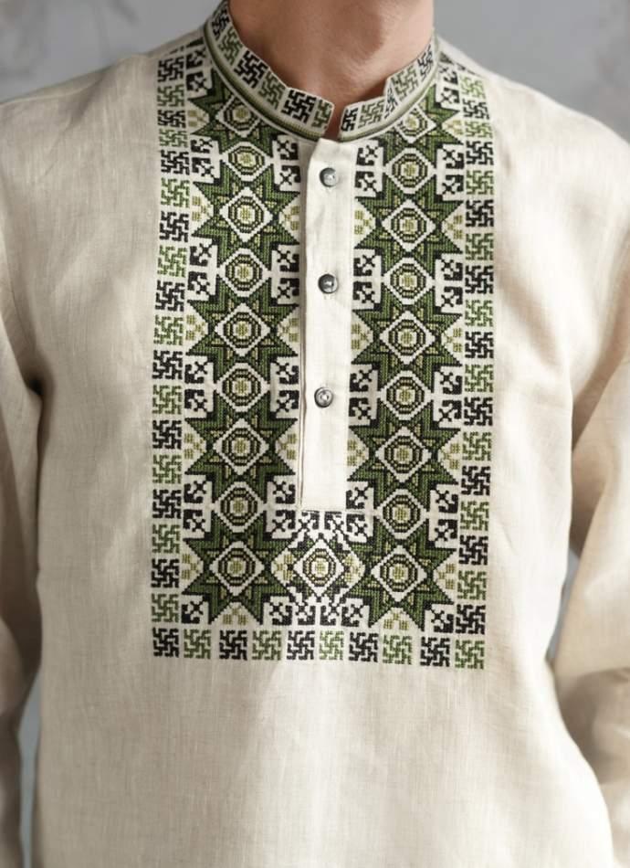 Мужская рубашка вышитая, арт. 4242-лён