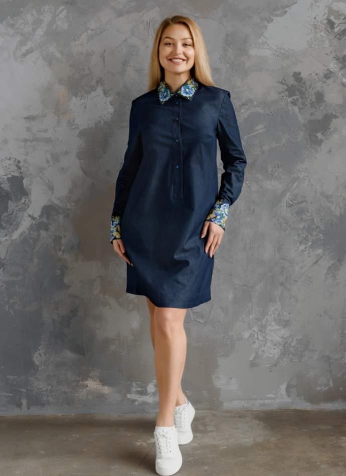 Сукня жіноча з вишитим комірцем, арт. 4553
