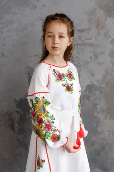 """Біле дитяче плаття-вишиванка """"соняшники"""", арт. 4345-льон"""