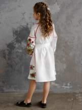 """Белое детское платье-вышиванка """"подсолнухи"""", арт. 4345-лён"""