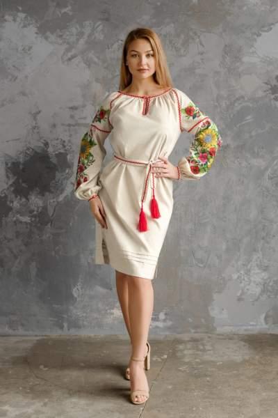 Серое платье с вышивкой (подсолнухи), арт. 4556