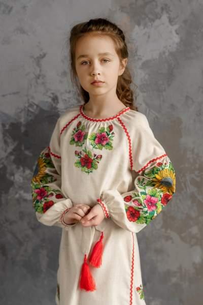 """Серое детское платье-вышиванка """"подсолнухи"""", арт. 4345"""