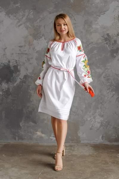 Біле плаття з вишивкою (Соняхи), арт. 4556-бавовна