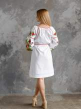 Белое платье с вышивкой (подсолнухи), арт. 4556 -хлопок