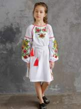"""Белое детское платье-вышиванка """"подсолнухи"""", арт. 4345-хлопок"""