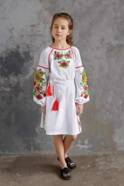 """Біле дитяче плаття-вишиванка """"соняшники"""", арт. 4345-бавовна"""