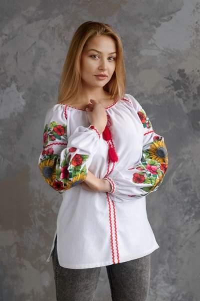Блуза с вышивкой (подсолнухи), арт. 4558