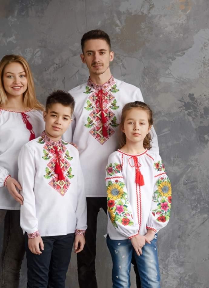 """Біла дитяча вишиванка """"соняшники"""",арт.4344бавовна"""