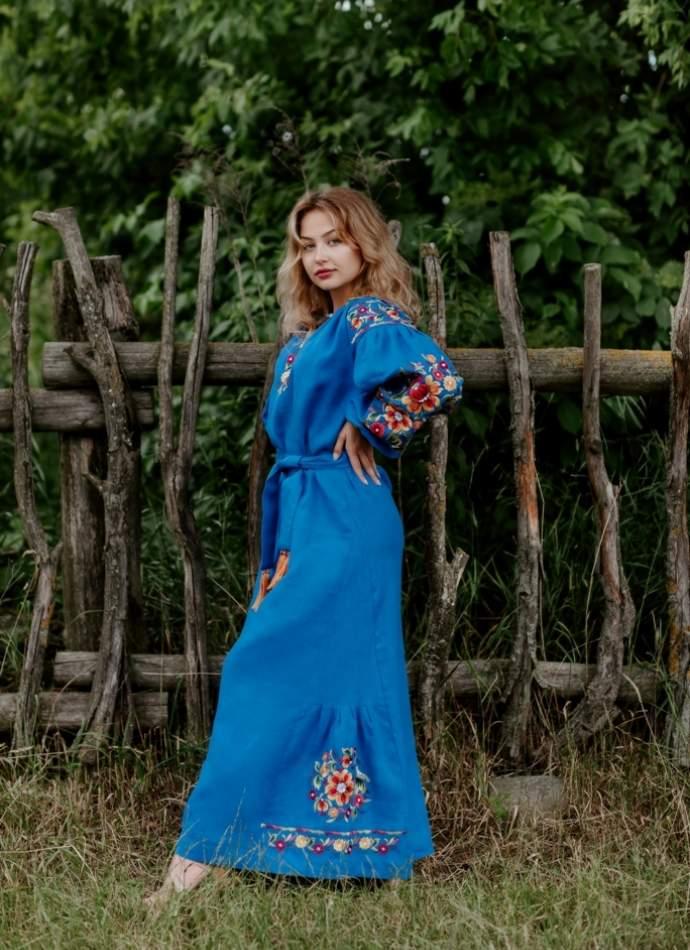 Платье вышиванка в пол (синее), арт. 4519