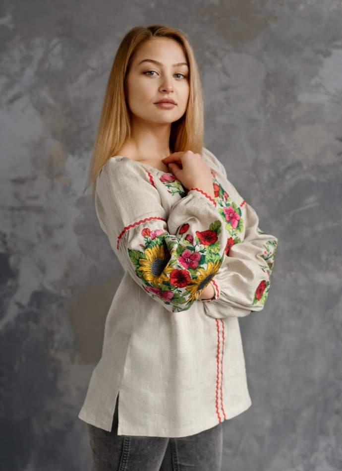 Сорочка з вишивкою (Соняхи), арт. 4557-льон сірий