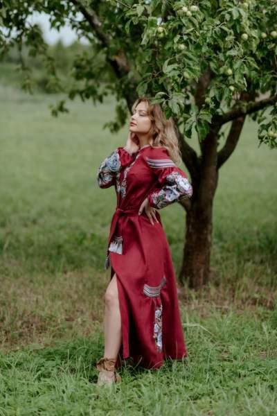 Платье вышиванка в пол (бордовое), арт. 4530
