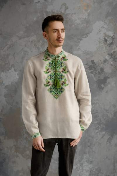 Чоловіча сорочка вишита, арт. 4245-льон сірий