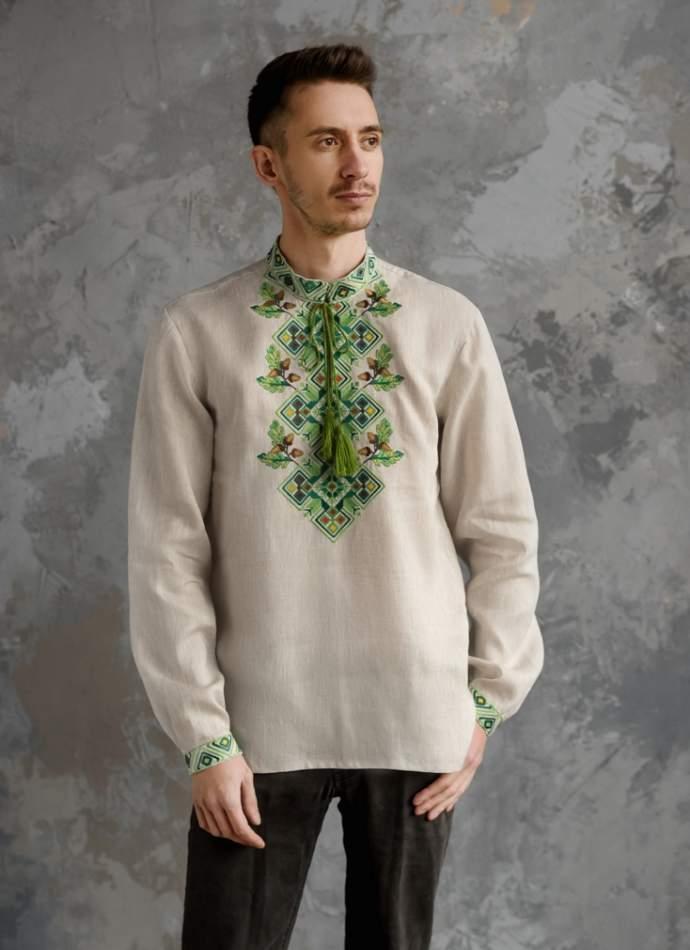 Мужская рубашка вышитая, арт. 4245-лён серый