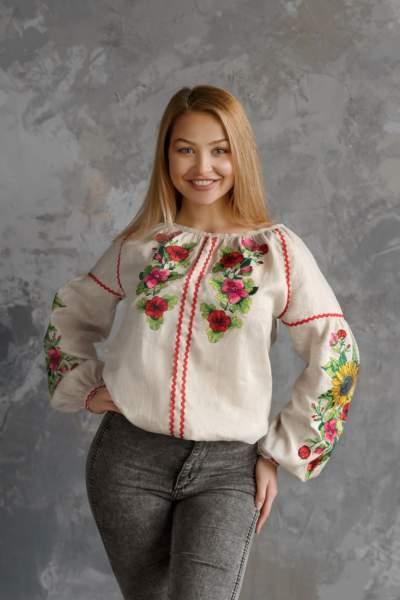 Льняна блуза с вышивкой (подсолнухи), арт. 4557
