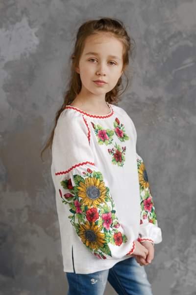 """Біла дитяча вишиванка """"соняшники"""", арт. 4343 льон"""