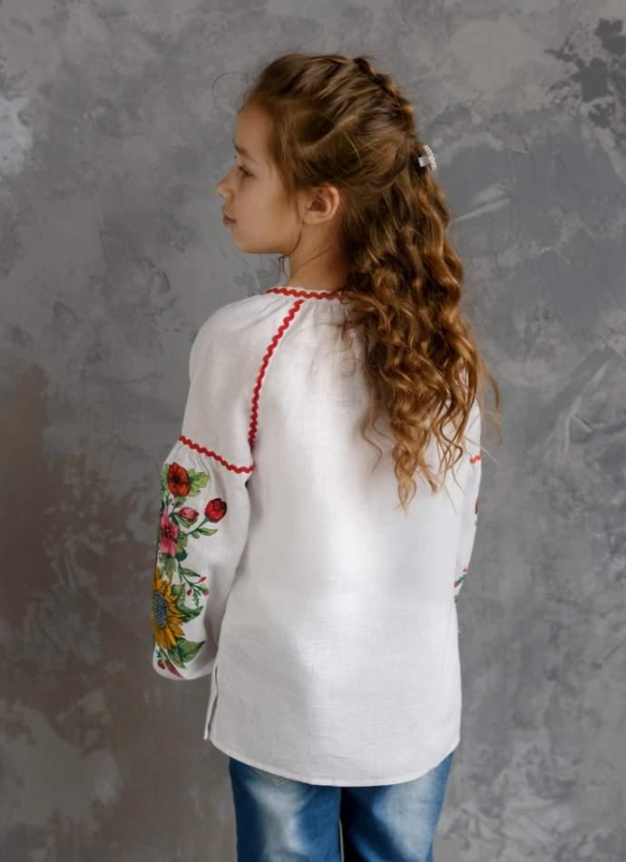 """Белая детская вышиванка """"подсолнухи"""", арт. 4343-лён"""