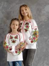 Белая блуза с вышивкой (подсолнухи), арт. 4557-лён