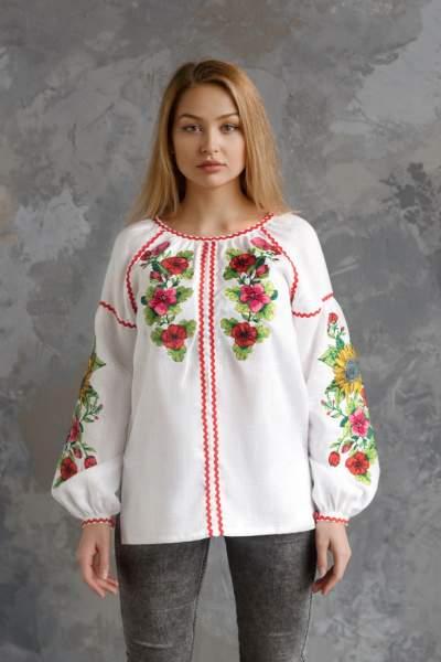 Біла сорочка з вишивкою (Соняхи), арт. 4557-льон