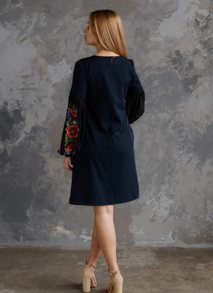 Молодежное платье с вышивкой синее, арт. 4526